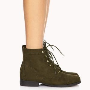 FOREVER 21 WOMENS COMBAT BOOTS GREEN OLIVE SZ 7